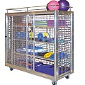 Swimming Pool Shelved Trolley with Railing